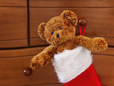 Brown teddy bear in red Santa Claus sock. Plush toy as Christmas present.  Stock Photo