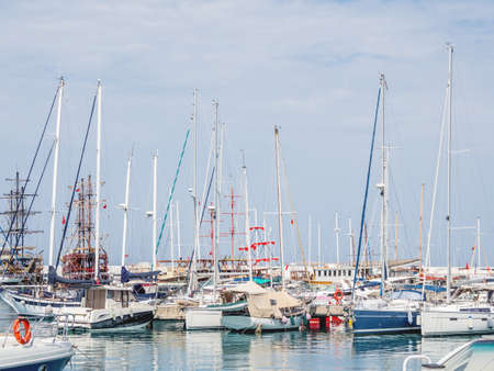 Yachts are moored at the Grand Marina, Kemer, Turkey. Beautiful ships for tourist trips on the Mediterranean sea.