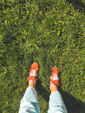 Woman in red sneakers stands on grass lawn. Top view on feet in bright sport shoes and light blue jeans. Outdoor leisure activity. Casual outfit. Natural summer background. 写真素材