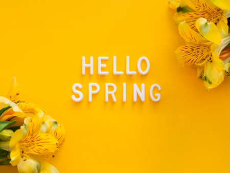 Text HELLO SPRING on bright yellow background with border of fresh alstroemeria flowers. Season's greetings card.