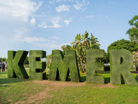 KEMER, TURKEY - May 13, 2018. Name of the town made of green artificial grass. Touristic attraction in park. Sajtókép