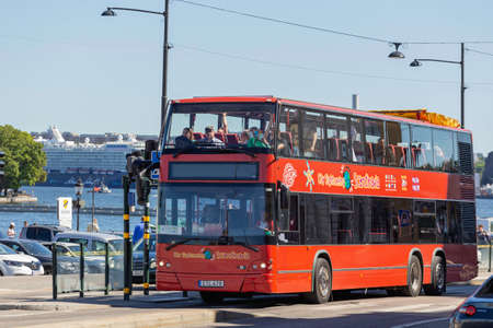 STOCKHOLM, SWEDEN - July 06, 2017. Red double-decker bus Hop on Hop off. Bus tours of European cities for tourists.