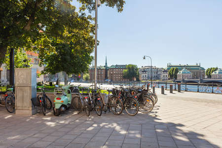 STOCKHOLM, SWEDEN - July 06, 2017. Bicycle parking near building of Rosenbad which serves as the seat of the Government. It was designed by Art Nouveau architect Ferdinand Boberg in 1902. Redactioneel