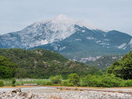 View of Tahtali or Lycian mountain from ancient Phaselis city. Turkey.