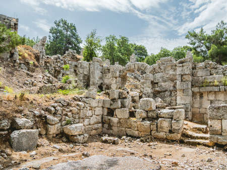 Ruins of large bath of ancient Phaselis city. Famous architectural landmark, Kemer district, Antalya province. Turkey.