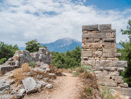 Ruins of amphitheater of ancient Phaselis city. Famous architectural landmark in Turkey.