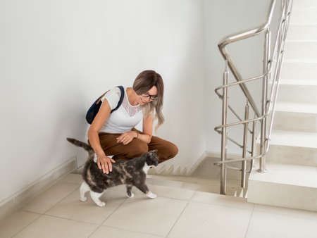 Woman strokes fluffy stray cat on indoor staircase of apartment building. Undomestic animal purrs of pleasure. Pet adoption. Taking care of homeless animals.
