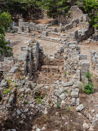 Ruins of large bath in ancient Phaselis city. Famous architectural landmark, Kemer district, Antalya province. Turkey. Stockfoto