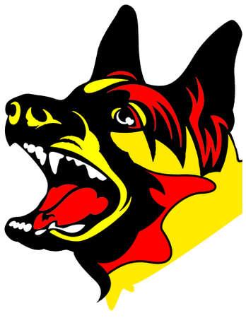 barking: Barking pastore tedesco Ritratto Vettoriali