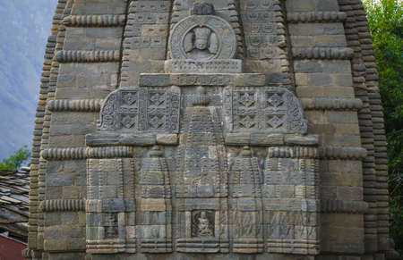 Old stone architecture of the ancient Naggar temple dedicated to Lord Shiva, standing still after thousands of years, idols in center, 5K