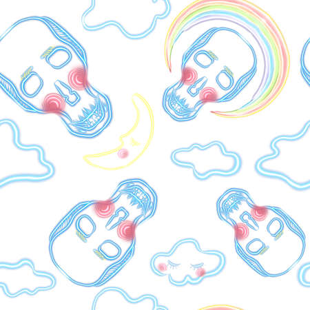 seamless pattern. An illustration of a fluorescent skull with clouds, rainbow and a moon on the white background Stock Photo