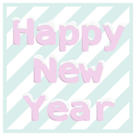 Vector graphics color illustration. Happy New Year banner. Pink letters with snowbank and  striped turquoise and white background