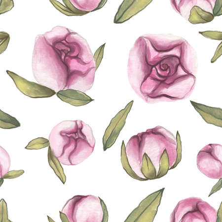 Seamless pattern. Valentines Day.  Delicate Love. Hand drawn water color Peony Flowers with leaves on the flat white background Banco de Imagens