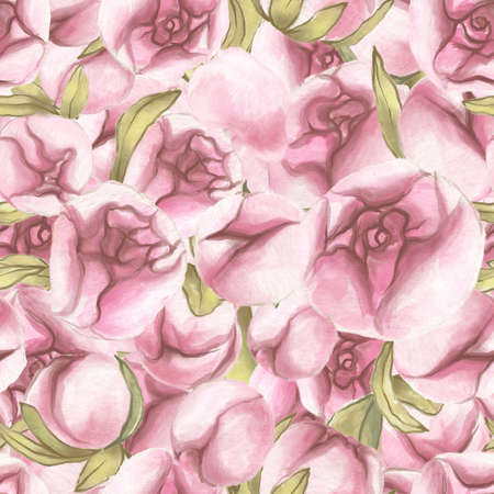 Seamless pattern. Valentines Day. Delicate Love. Hand drawn water color Peony Flowers with leaves. Banco de Imagens