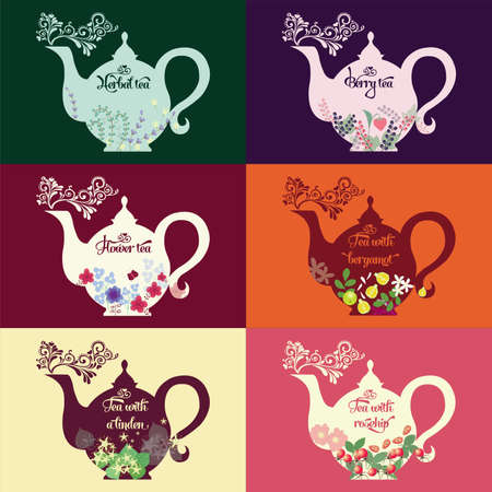 Teapot with a pattern of herbs and fruits  イラスト・ベクター素材