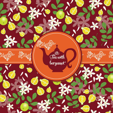 Postcard with tea on the pattern of the fruit and leaves of Earl Grey