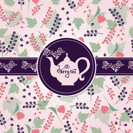 Postcard with tea on the pattern of the fruit and berries  イラスト・ベクター素材