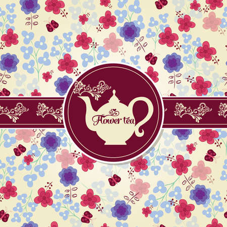 Postcard with tea on the pattern of the flowers