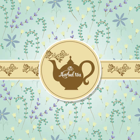 Postcard with tea on the pattern of the herbs and flowers