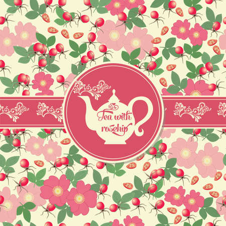 Postcard with tea on the pattern of the fruit and leaves of rose hips