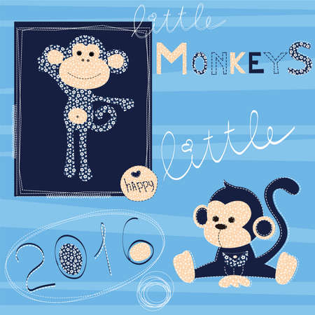 patchwork: Little monkey, made in style of patchwork, pattern and illustration