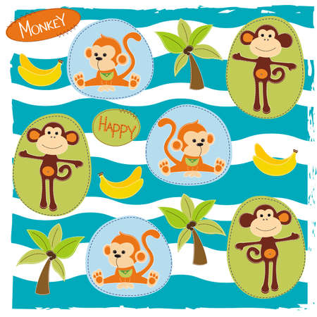 Happy monkey with bananas, made in style of patchwork  イラスト・ベクター素材