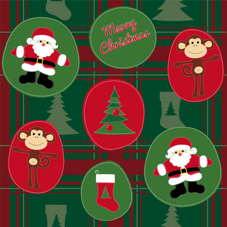 Monkey with Santa Claus and the Christmas tree, done in the style of patchwork, pattern and illustration