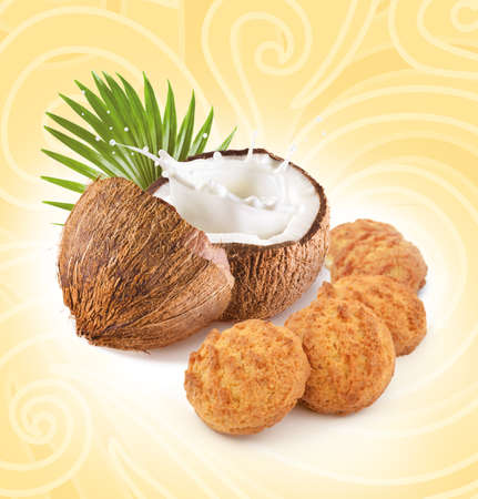 Cookies with coconut on yellow background 写真素材