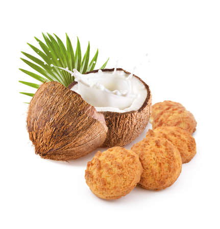 Cookies with coconut on white background