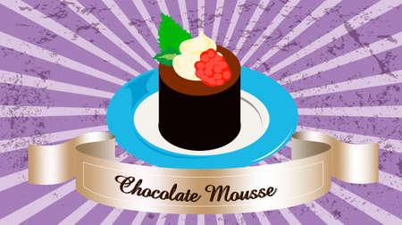 chocolade mousse: chocolademousse Stock Illustratie