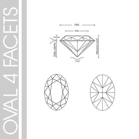 Oval diamond shape four facet