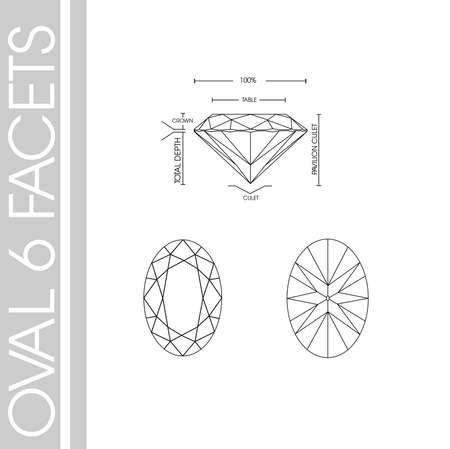 Oval diamond shape six facet Çizim