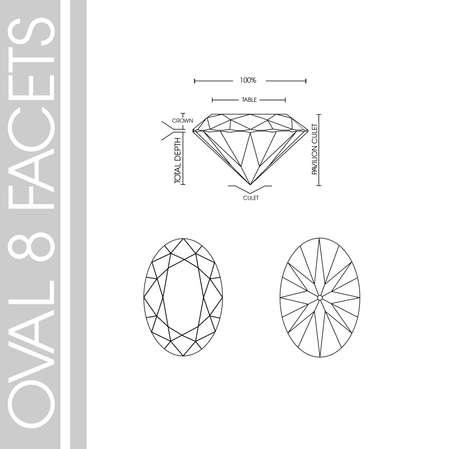 Oval diamond shape eight facet