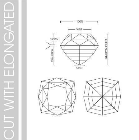 Diamonds shape cut with elongated Çizim