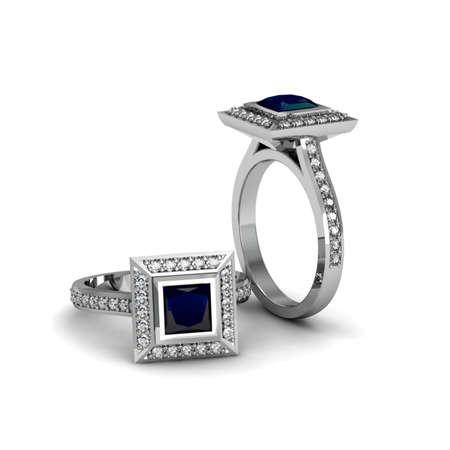 Blue sapphire white gold ring Stok Fotoğraf - 29468998