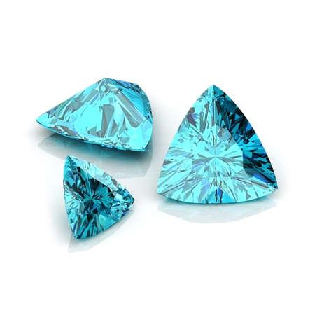 trillion: light Blue Sapphire Trilliant Stock Photo