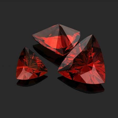 trilliant: Red Garnet Trilliant Stock Photo
