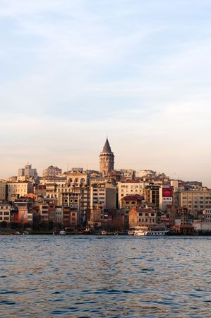 social history: The Galata Tower (Turkish: Galata Kulesi), also called Christea Turris (Tower of Christ) by the Genoese and Megalos Pyrgos (The Great Tower) by the Byzantines Stock Photo