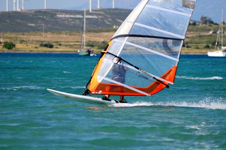 Windsurfing in Alacati, Cesme, Turkey Stock Photo - 3096346