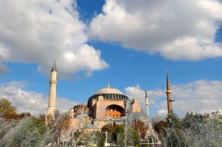 Hagia Sophia is a former patriarchal basilica, later a mosque, now a museum in Istanbul, Turkey. Famous in particular for its massive dome, it is considered the epitome of Byzantine architecture. photo
