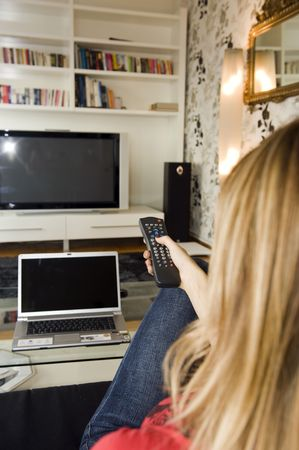 Watching TV - with remote control