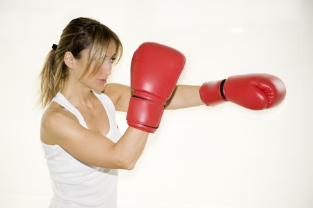 kickboxer woman training