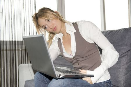 beautiful businesswoman working at home photo
