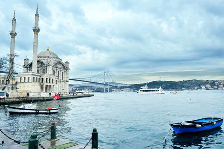 istanbul beach: Ortakoy mosque and bosporus bridge