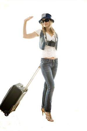 beautiful woman leaving for her trip Stock Photo - 4664015