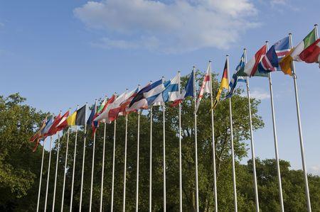 Flagi Europejskiej do Parlamentu Europejskiego, Strasburg, Francja