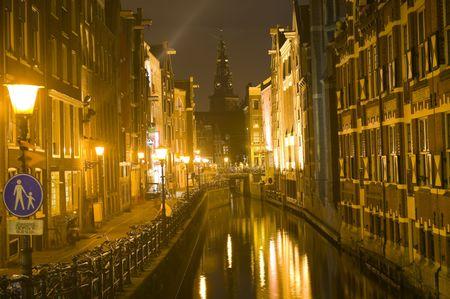 Long exposure shot of Amsterdam at night photo