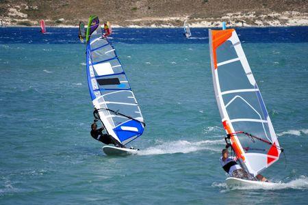 windsurf: Windsurf en Alacati, Cesme, Turqu�a, Foto de archivo