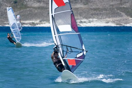 Windsurfing in Alacati, Cesme, Turkey Stock Photo - 5373627