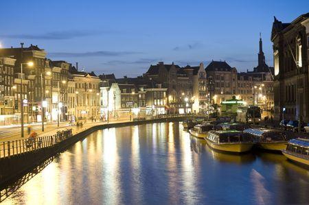 Long exposure shot of Amsterdam at night